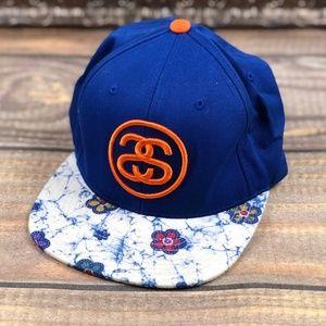Stussy Floral Flat Brim Snapback Hat Blue & Orange